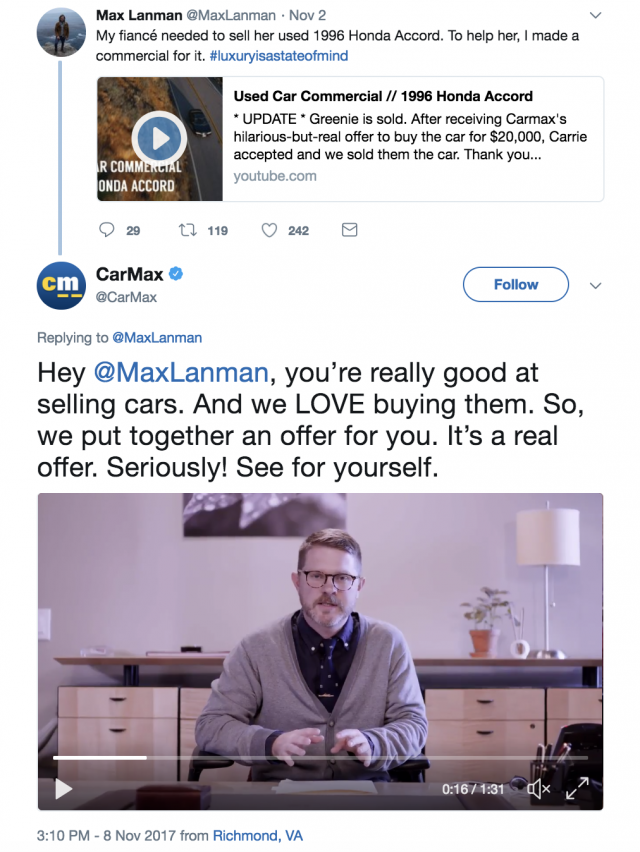 CarMax Tweet